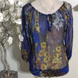 CACHE SILK SHEER COLD SHOULDERS BLOUSE